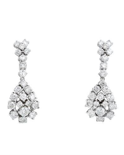 3.10 Carat Natural Diamond 14K Solid White Gold Earrings