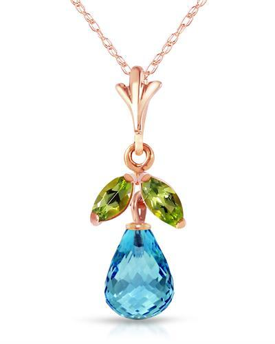 Magnolia Brand New Necklace with 1.7ctw of Precious Stones - peridot and topaz 14K Rose gold