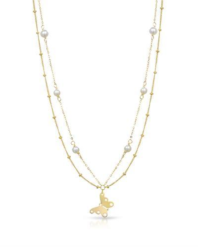 Golden Arc Jewelry Brand New Necklace with 0ctw pearl 14K Yellow gold