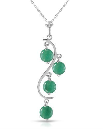 Magnolia Brand New Necklace with 2ctw emerald 14K White gold