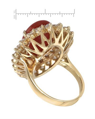 Lundstrom Brand New Ring with 8.05ctw of Precious Stones - coral and diamond 14K Yellow gold