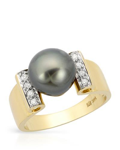 PEARL LUSTRE Brand New Ring with 0.1ctw of Precious Stones - diamond and pearl 14K Yellow gold