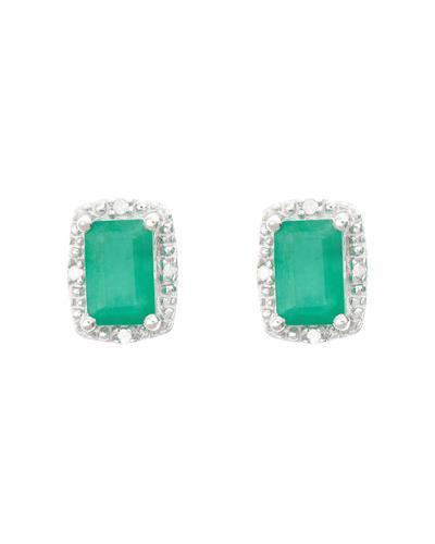 Brand New Earring with 1.12ctw of Precious Stones - diamond and emerald 925 Silver sterling silver