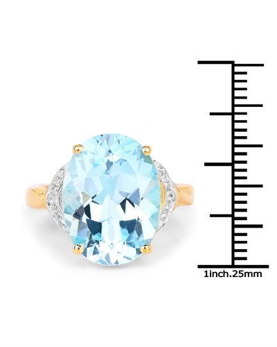Brand New Ring with 11.32ctw of Precious Stones - topaz and topaz 14K/925 Yellow Gold plated Silver