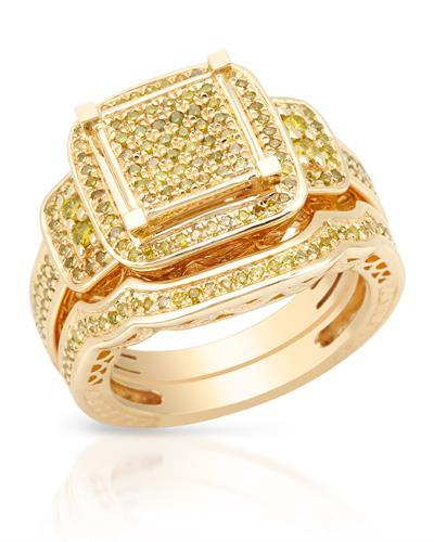 Lundstrom Brand New Ring with 0.9ctw diamond 10K/925 Yellow Gold plated Silver