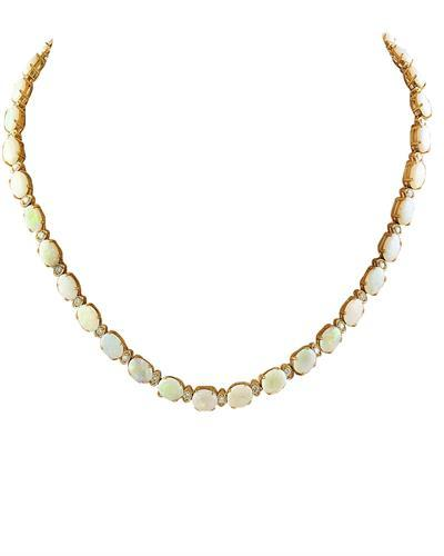 21.40 Carat Opal 14K Yellow Gold Diamond Necklace