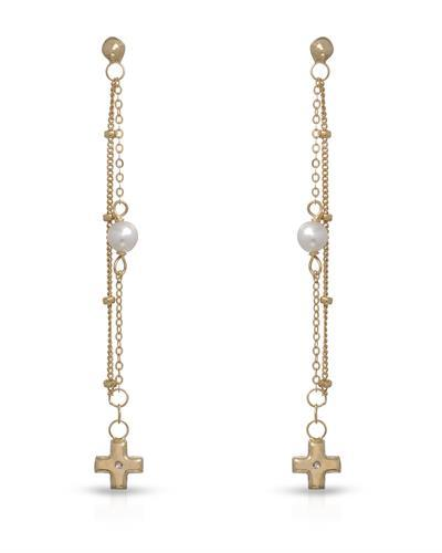 Golden Arc Jewelry Brand New Earring with 0ctw of Precious Stones - crystal and faux pearl 10K Yellow gold
