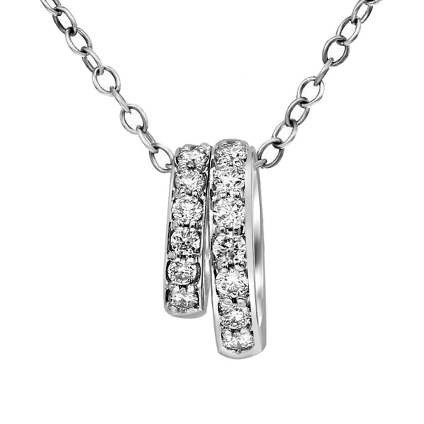 FD Brand New Pendant with 0.38ctw Lab Grown Diamonds in 14K White Gold