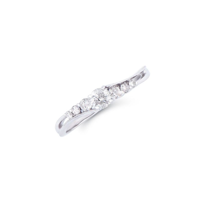 Brand New 0.16ctw Solitaire Ring with Diamonds in 14K White Gold