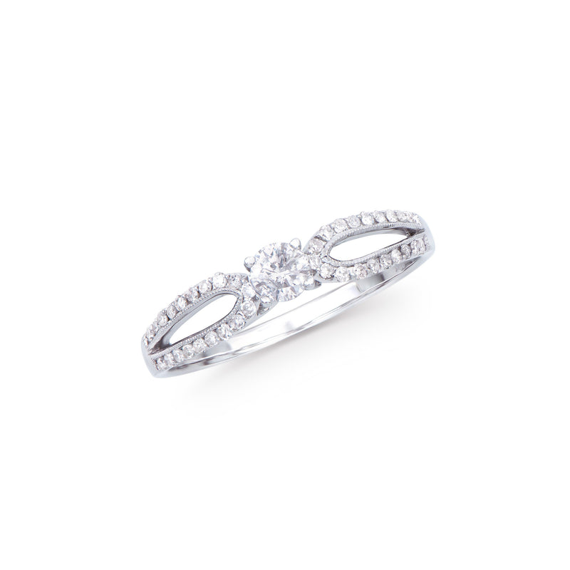 Brand New 0.41ctw Solitaire Ring with Diamonds in 14K White Gold