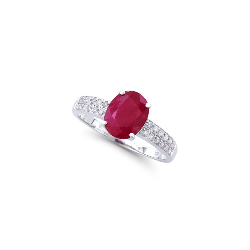 Brand New 2.18ctw Solitaire Ring with Diamonds & Ruby in 14K White Gold