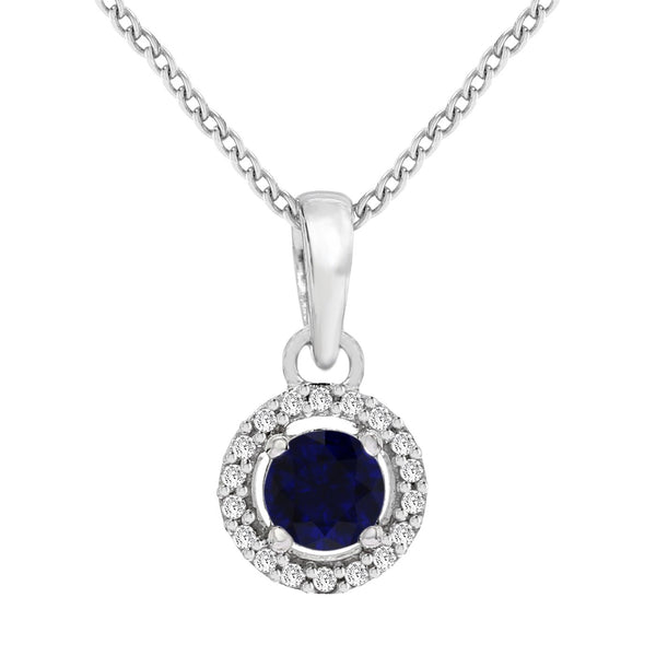 Sparkles Brand New Pendant with 0.05ctw Genuine Diamonds and Sapphire in 14K White Gold