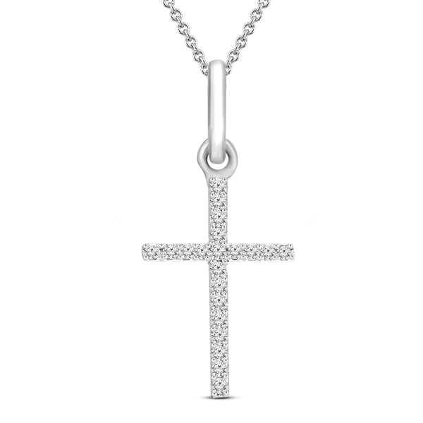 FD Brand New Pendant with 0.05ctw Lab Grown Diamonds in 10K White Gold