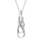 Tanache Brand New Pendant with 0.02ctw Genuine Diamonds in White Gold Plated Sterling Silver
