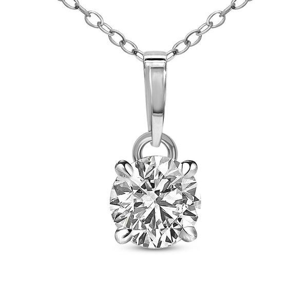 FD Brand New Pendant with 0.33ctw Lab Grown Diamond in 14K White Gold