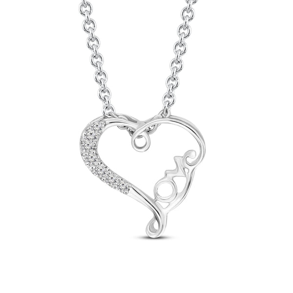 Tanache Brand New Heart Pendant with 0.02ctw Genuine Diamonds in 10K White Gold