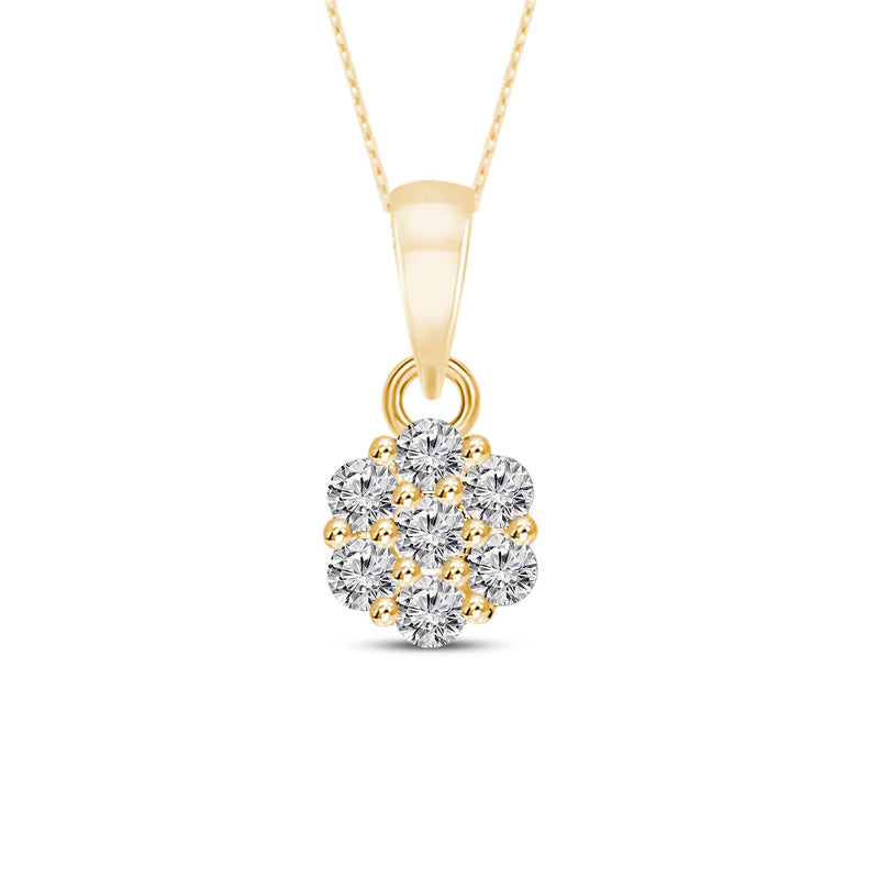 FD Brand New Pendant with 0.25ctw Lab Grown Diamonds in 10K Yellow Gold