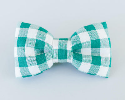Green Gingham Butterfly Dog Bow Tie