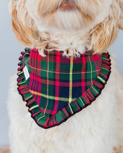 Green & Red Plaid Pleated Dog Bandana