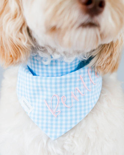 Pond Blue Gingham Dog Bandana