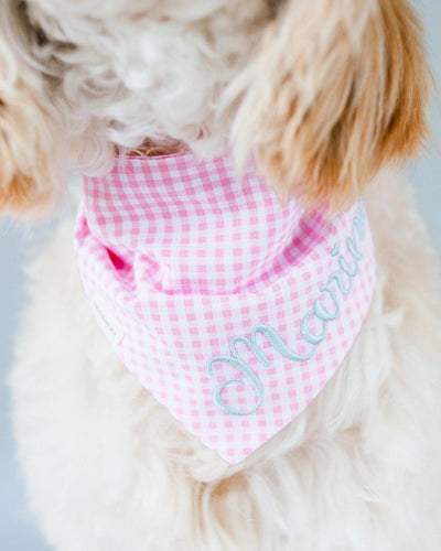 Pink Gingham Dog Bandana