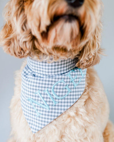 Gray Gingham Dog Bandana