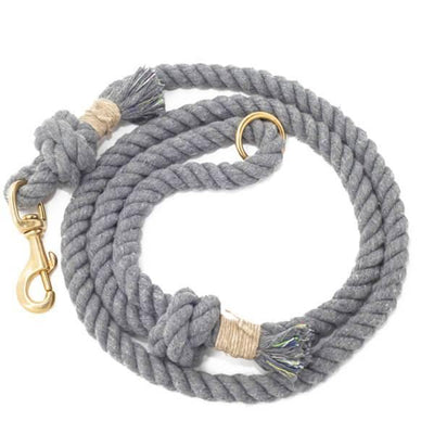 Cotton Rope Dog Leash - Grey