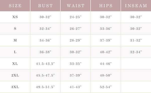 Morning Lavender Size Chart