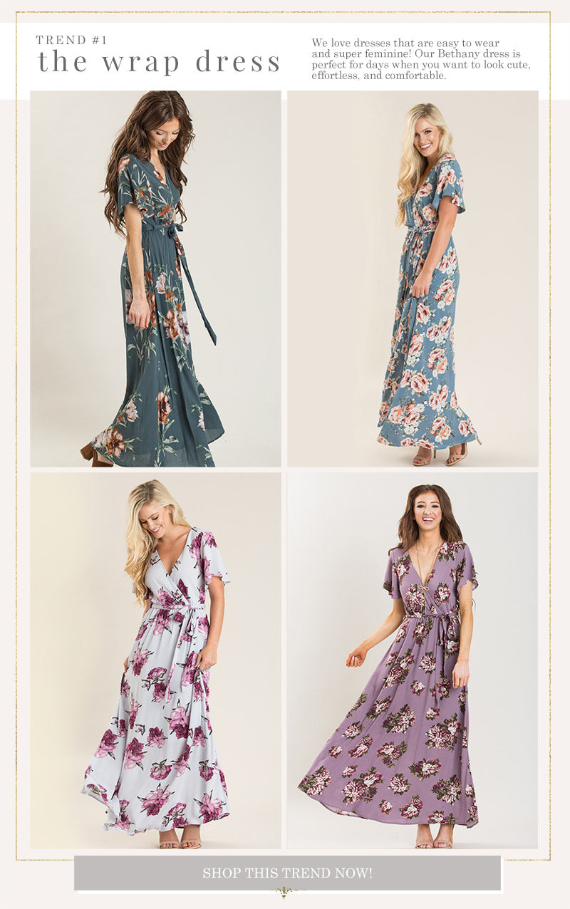 21a992bb8 Flirty and flattering on all silhouettes, wrap dresses are a fall favorite!  They come in all kinds of pretty floral prints and lovely shades.
