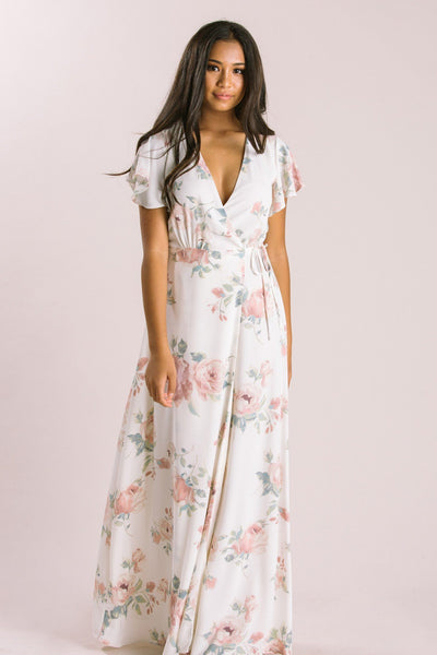 Petite Charlotte Floral Wrap Maxi Dress Dresses Everly Ivory XSP