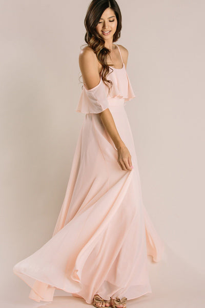 Adele Blush Ruffle Maxi Dress Dresses INA Blush Medium