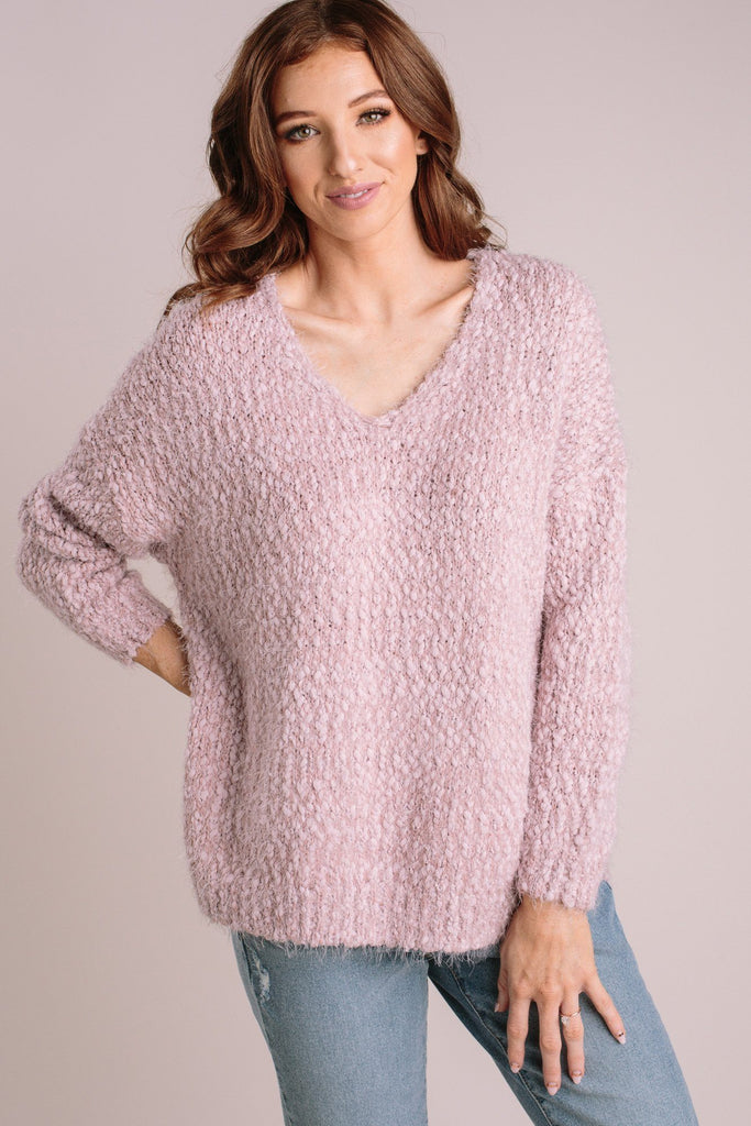 Liv Eyelash Knit Sweater Sweaters Dreamers Pale Mauve X-Small/Small