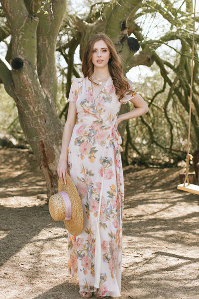 Hannah Floral Wrap Maxi Dress Dresses Aakaa Blush-Multi Small