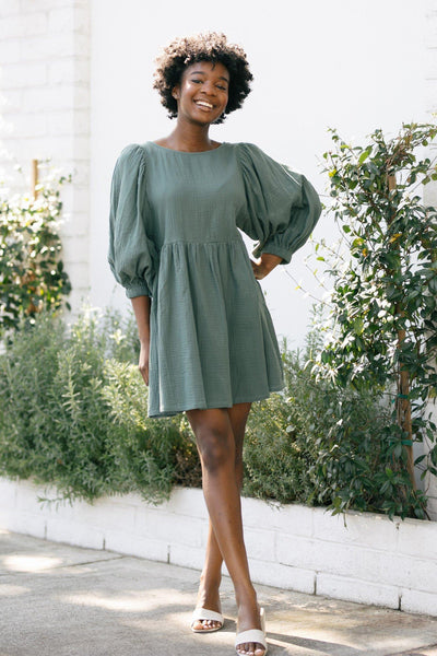 Kimberly Babydoll Mini Dress Dresses Audrey Green Small