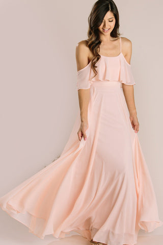 Adele Blush Ruffle Maxi Dress Dresses INA