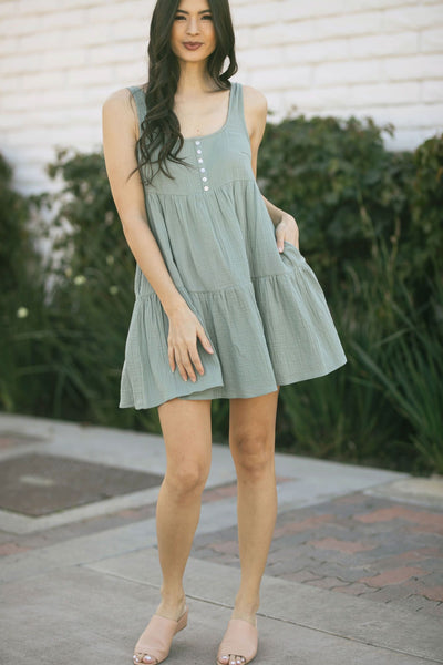 Gail Button Babydoll Tank Dress Dresses Wishlist D. Aqua Small