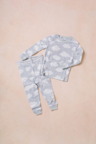 Kids Cloud Long Sleeve Sleeve Pajama Set Kids Salon De Bebe Grey XS (12-24M)