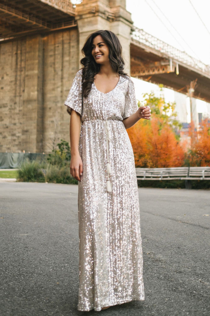 Celia Silver Sequin Maxi Dress Dresses Sage