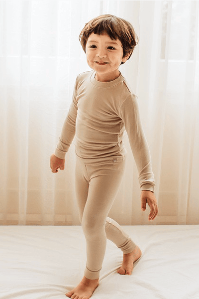 Kids Beige Solid Knit Pajama Set Kids Salon De Bebe