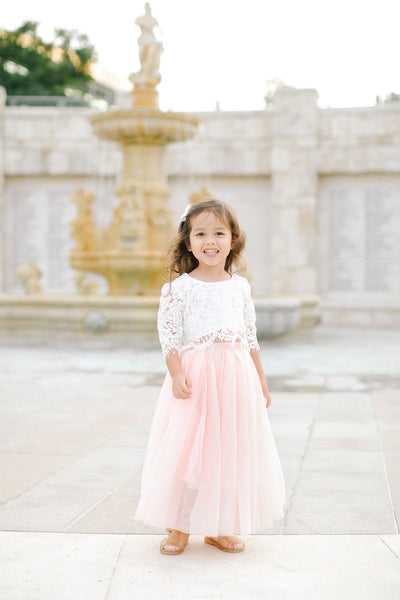 Kids Tulle Maxi Skirt Kids Salon De Bebe Pink 2T