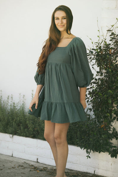 Alondra Babydoll Mini Dress Dresses In Loom Hunter Green Small