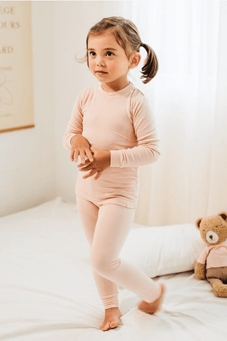 Kids Pink Solid Knit Pajama Set Kids Salon De Bebe