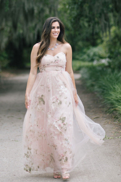 Ellen Blush Floral Tulle Maxi Dress Dresses Maniju Blush Small