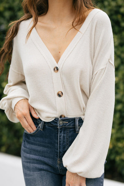 Pamela Cropped Button Cardigan Sweaters In Loom Oatmeal Small
