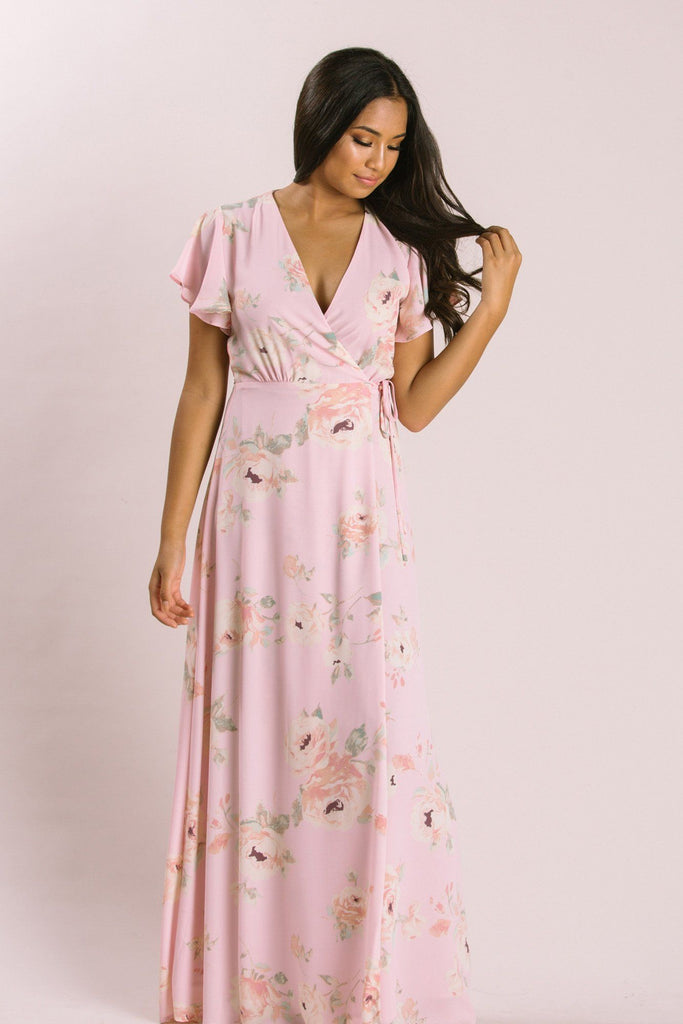 Petite Charlotte Floral Wrap Maxi Dress Dresses Everly Blush XSP