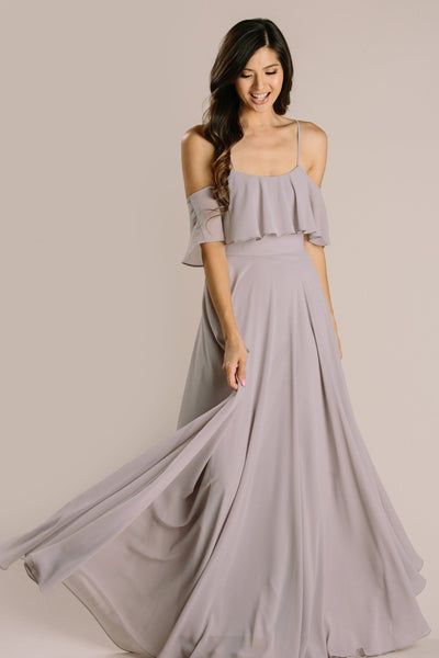 Adele Ruffle Maxi Dress Dresses INA Grey X-Small