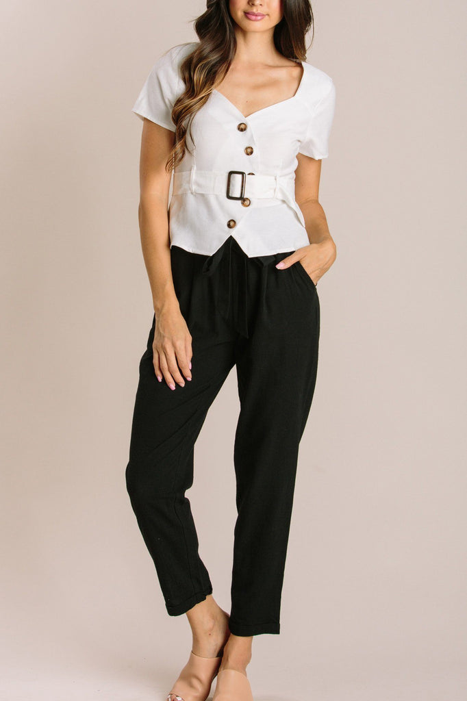 Finley Asymmetrical Button Top Tops Gilli White Small
