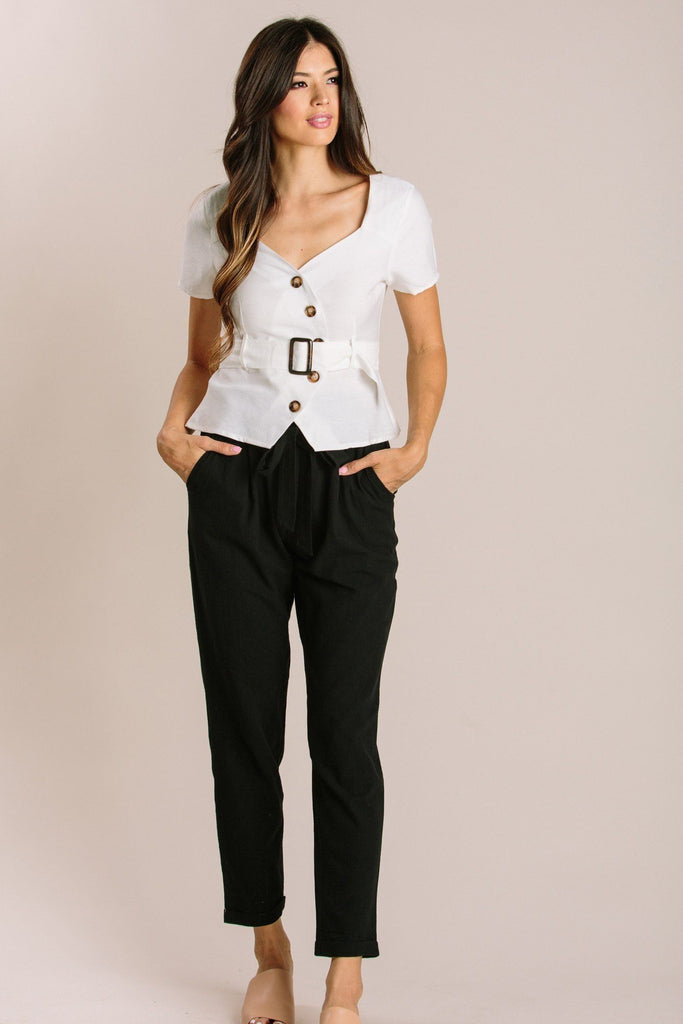 Finley Asymmetrical Button Top Tops Gilli