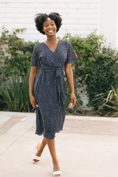 Julyssa Dotted Midi Dress Dresses Blu Pepper Navy-White Small