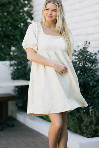 Aspen Puff Sleeve Textured Mini Dress Dresses Listicle Cream Small